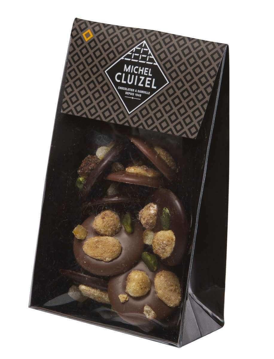 Poche Mendiants Noir et lait 150g - chocolatier Cluizel