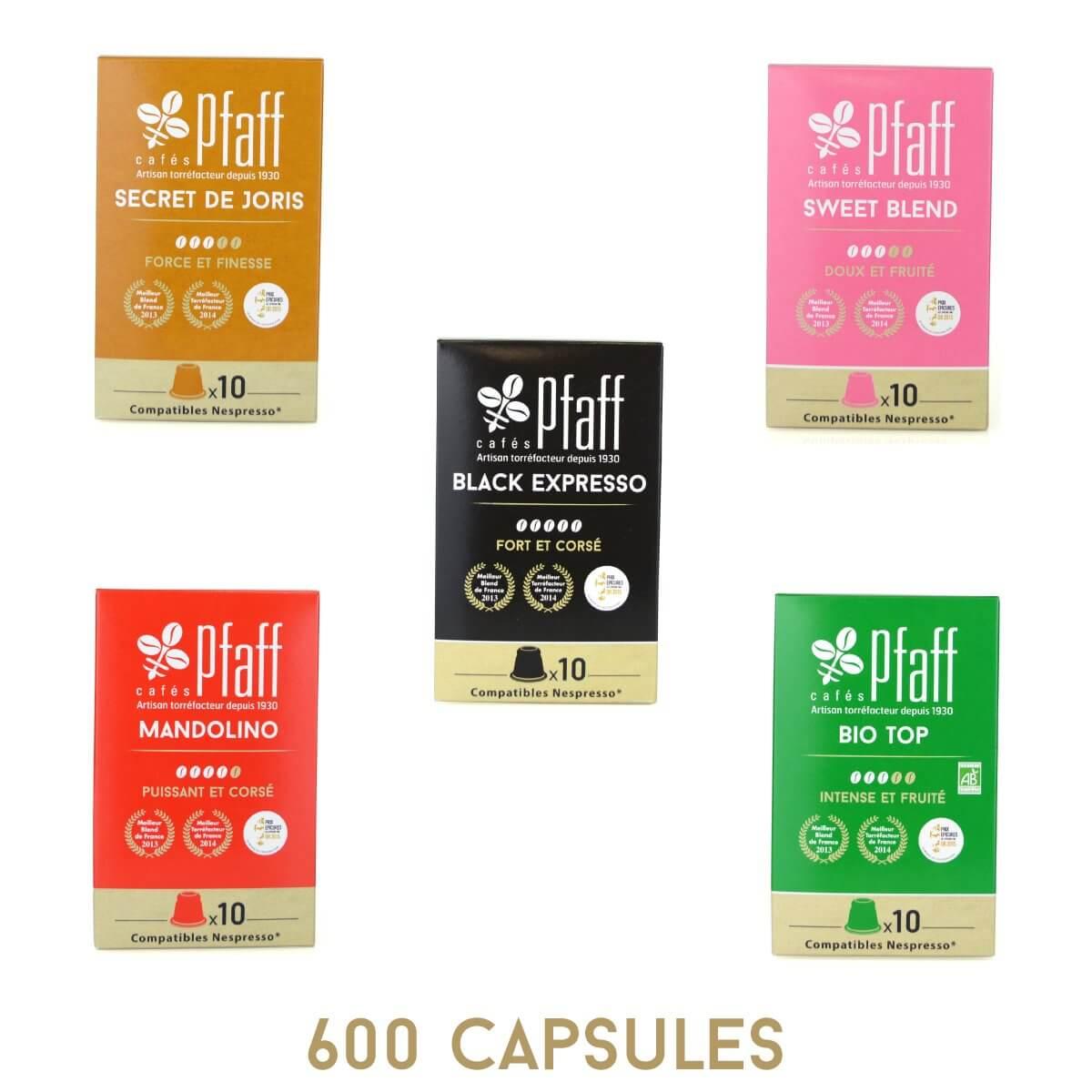 Capsules compatibles Nespresso® x 600 Assortiment Découverte PFAFF
