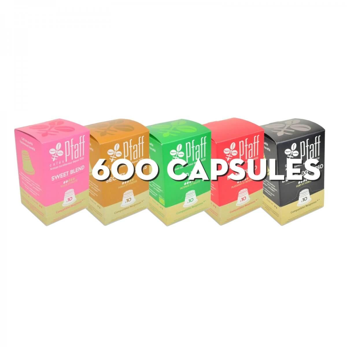 assortiment 600 capsules nescompatibles cafes pfaff 2016