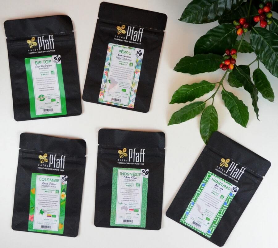 assortiment cafe bio 5x250gr cafes pfaff