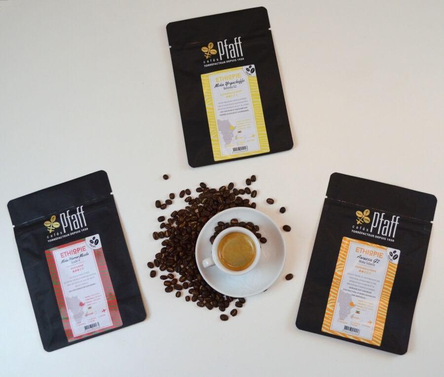 assortiment moka ethiopie 3x250gr cafes pfaff