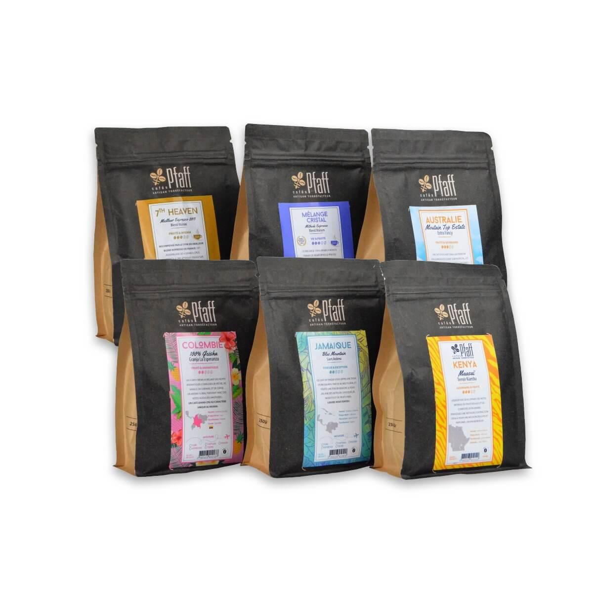 Nos cafés Grands Crus - 6x250 Gr