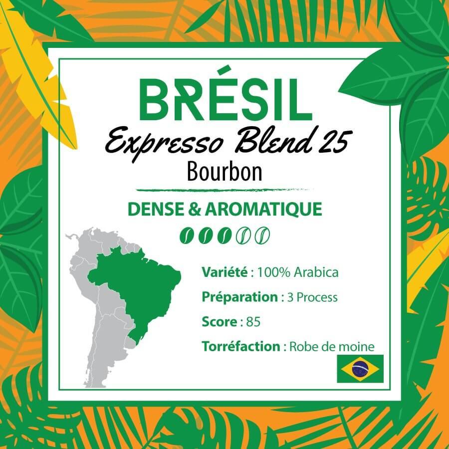 Café BRESIL - Expresso Blend 25  - café moulu