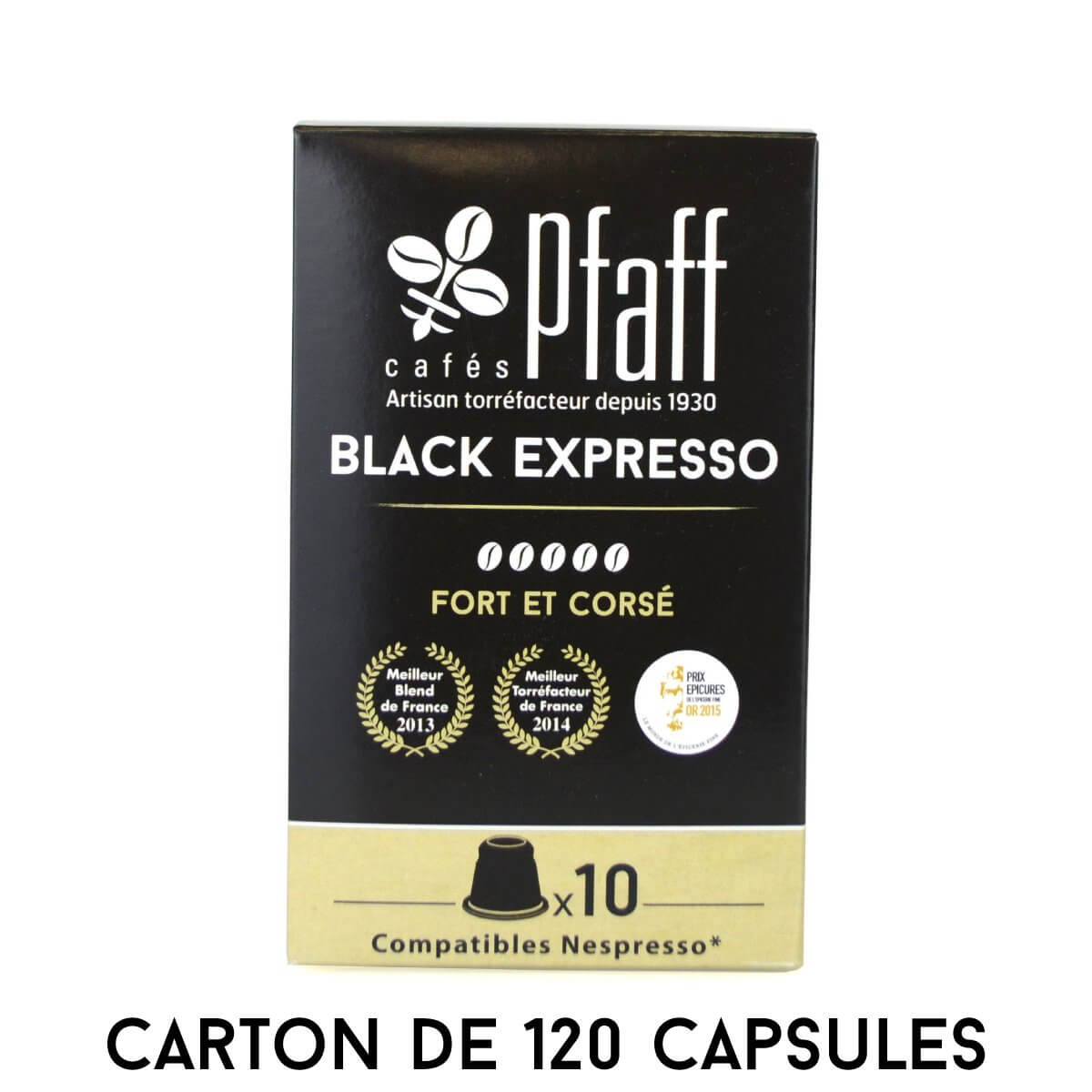 carton 120 capsules black expresso compatibles nespresso
