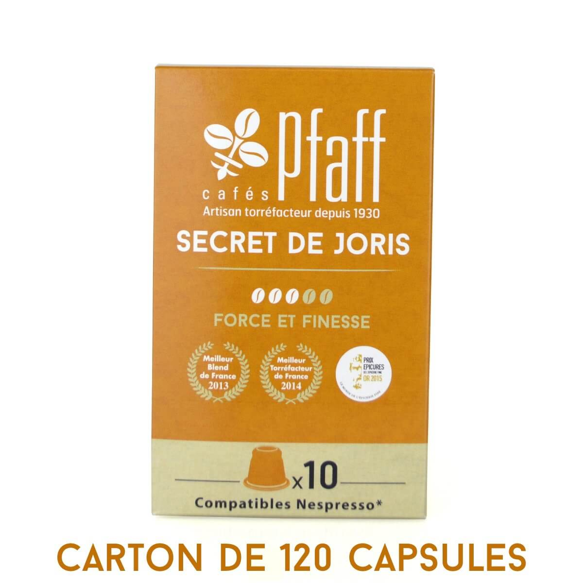 carton 120 capsules secret de joris compatibles nespresso