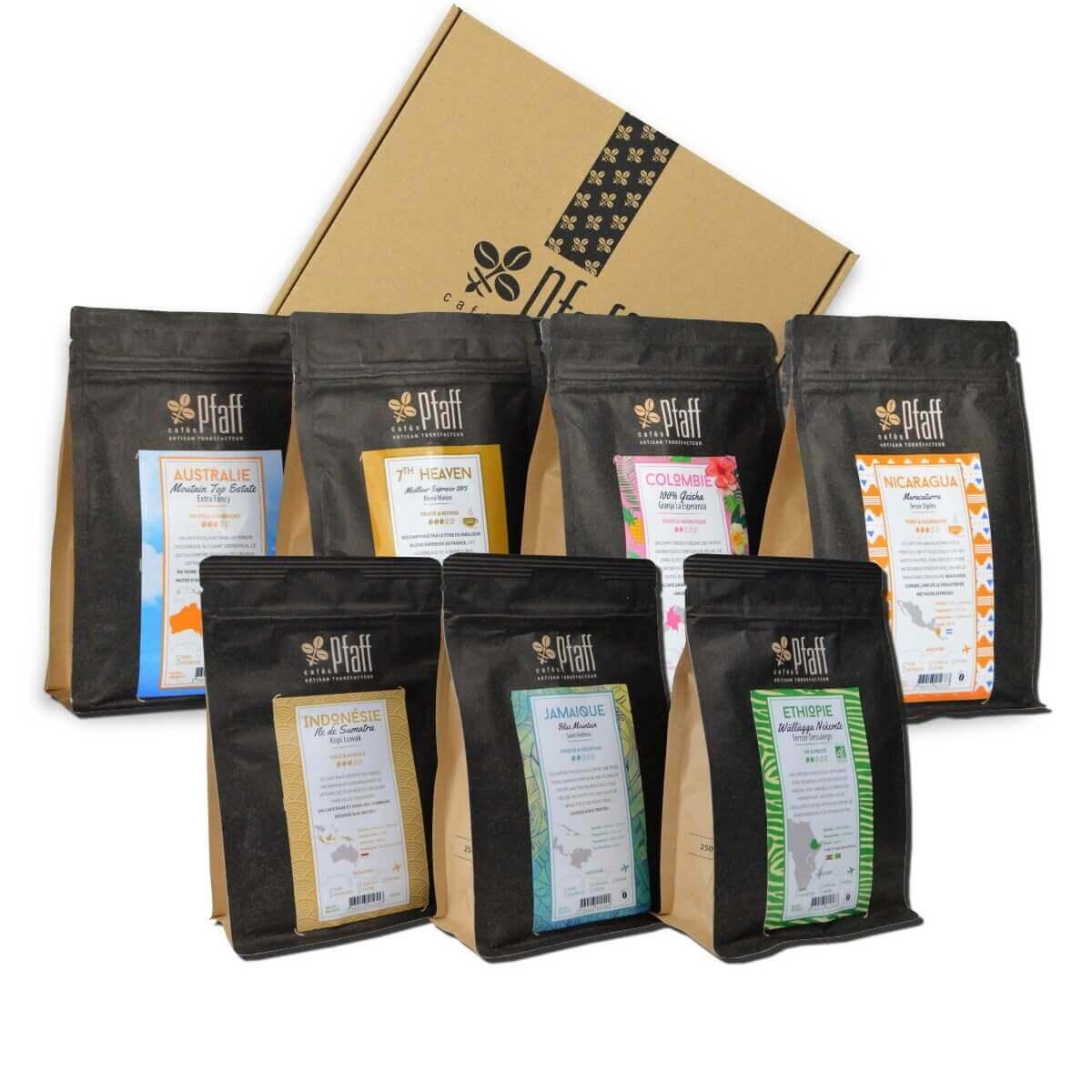 Coffret : 7 cafés Grands Crus - 7x250 Gr