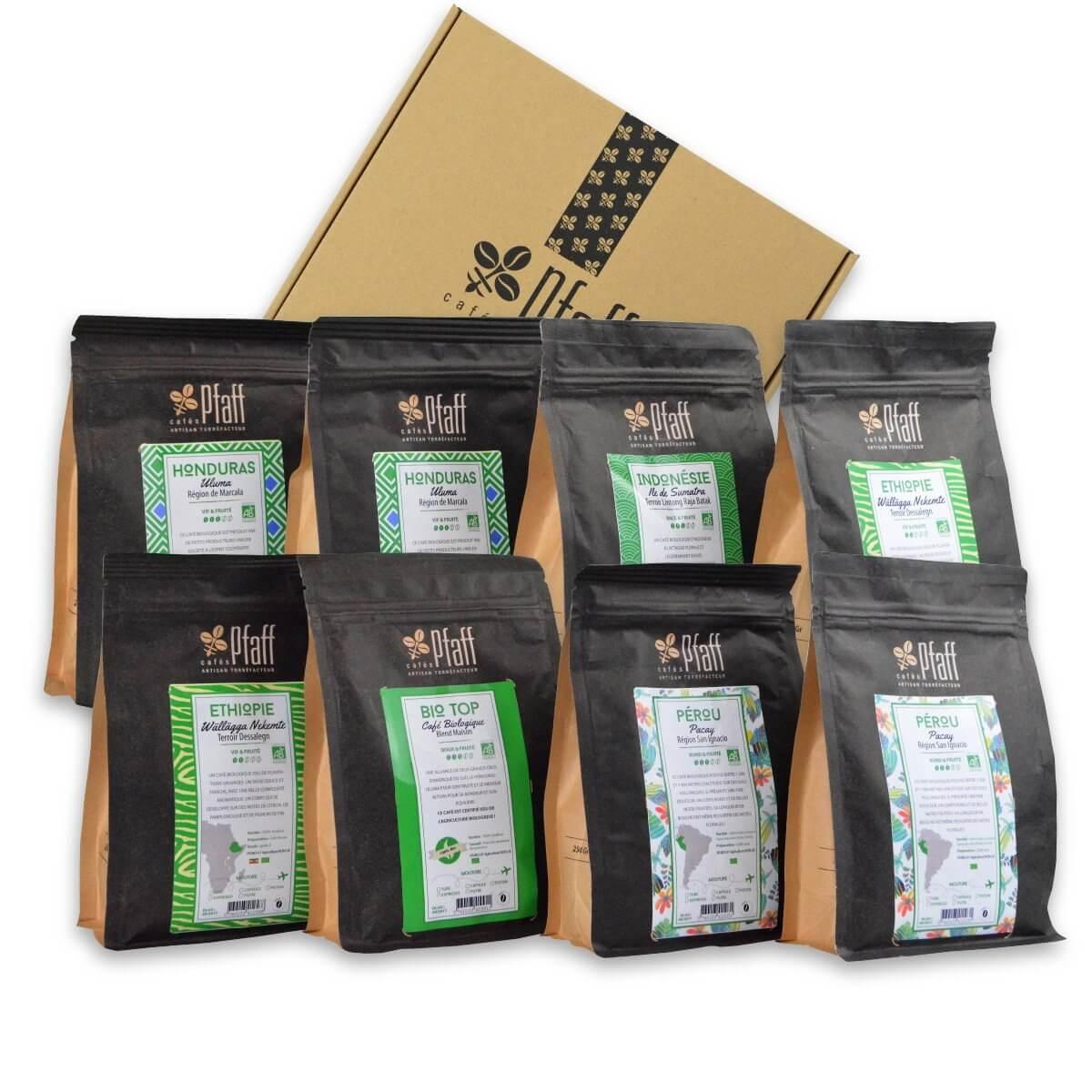Coffret : Nos 8 cafés biologiques - 8x250 Gr