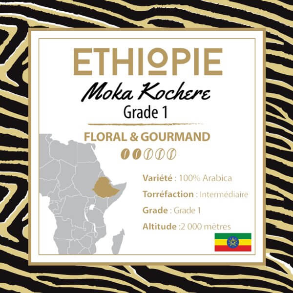 Café ETHIOPIE - Moka Yrgachefe Kochere Grade 1 - café moulu