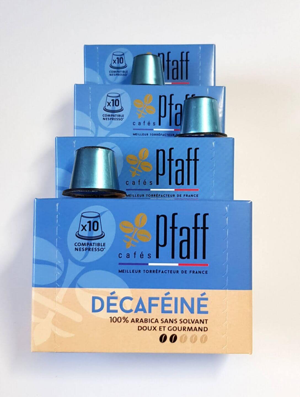lot 4 boites decafeine capsules compatibles nespresso pfaff  1