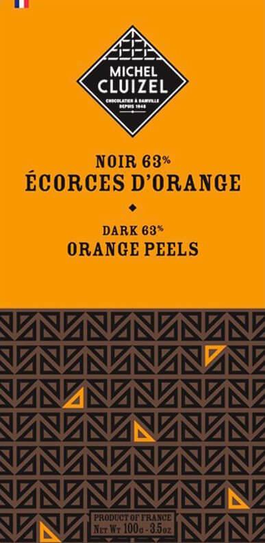 Tablette Noir aux Ecorces d'Oranges - chocolatier Cluizel
