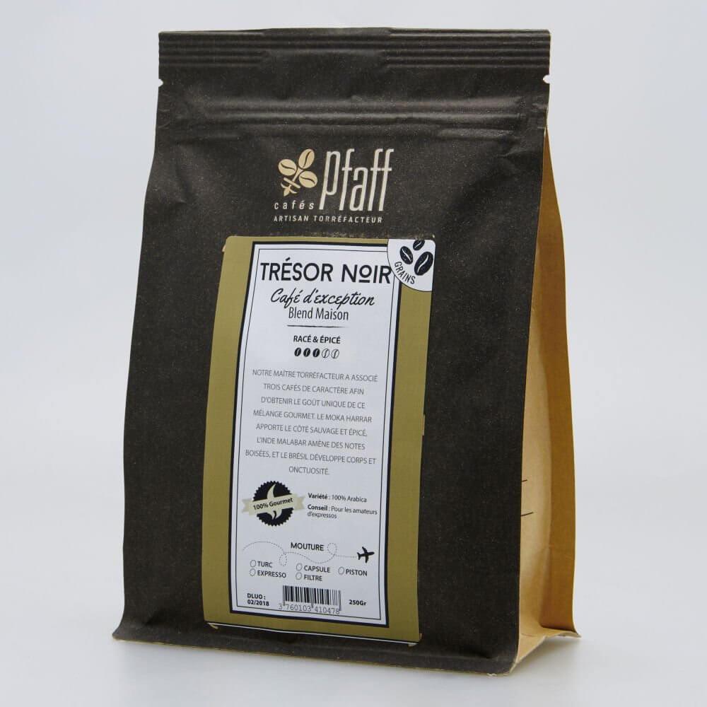 tresor noir paquet 250gr cafes pfaff