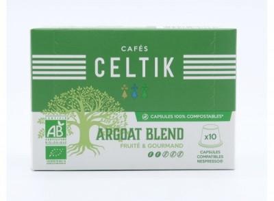 10 capsules 100% compostables Argoat Blend compatibles Nespresso®*
