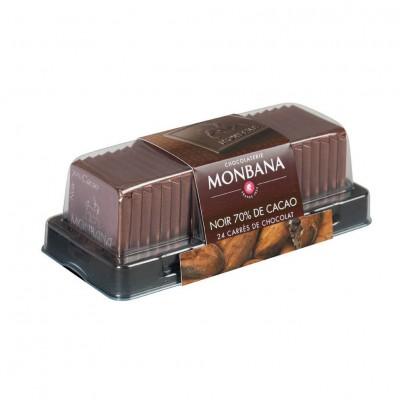 Carrés de chocolat Noir 70% de cacao - réglette 24 carrés - 95g