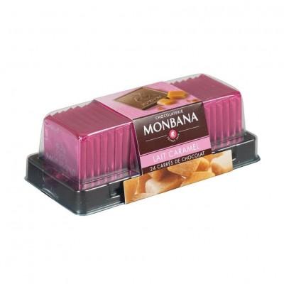 Carrés de chocolat au lait aux éclats de caramel - réglette 24 carrés - 96g