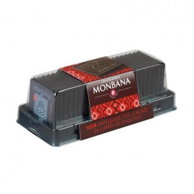 Carrés de chocolat Noir origine Papouasie 70% de cacao - réglette 24 carrés - 96g