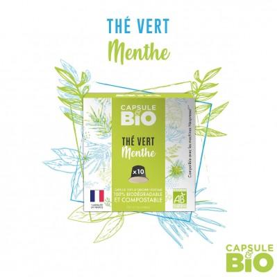 Capsule thé VERT à la MENTHE bio - boite de 10 capsules