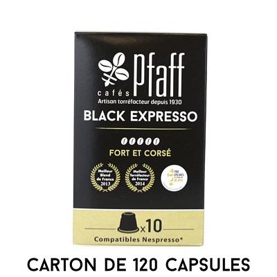 120 capsules Black Expresso -  compatibles Nespresso®* - 100 % Arabica
