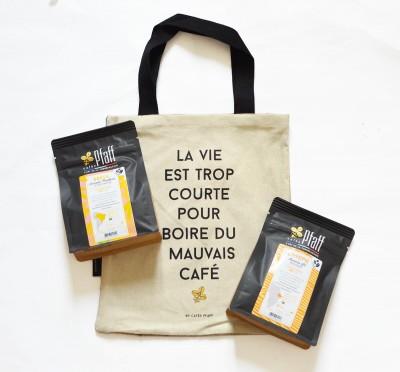 """Coffret Tote Bag Version Sachets """"La vie est trop courte pour boire du mauvais café !"""""""