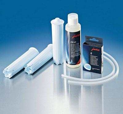Care Kit Jura - kit entretien 3 Claris Blue, pastilles et bouteille de détergent, 2 flexibles