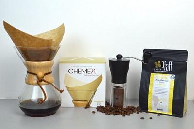 Pack CHEMEX 6 tasses + moulin + filtre + moka yrgacheffe