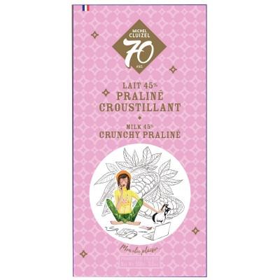 Tablette 70 Ans grand lait 45% praliné croustillant - Chocolatier Cluizel