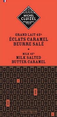Tablette Lait aux Eclats Caramel Beurre Salé - chocolatier Cluizel
