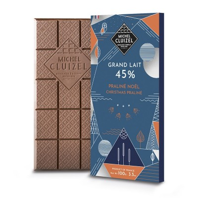 tablette grand lait 45% praline noel - Chocolatier Cluizel