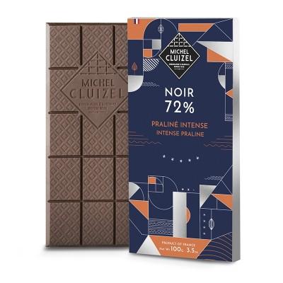 Tablette Noir 72% Praliné Intense - Chocolatier Cluizel